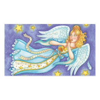 Cartoon Christmas Angel Floating Playing Her Horn Business Card
