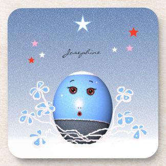 Cartoon Christmas Blue Egg with Stars Beverage Coaster