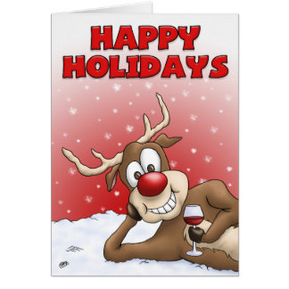 Cartoon Christmas Cards: Happy Holiday Deer Greeting Card