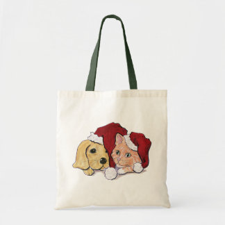 Cartoon Christmas, Cute Puppy Kitten in Santa Hats Budget Tote Bag