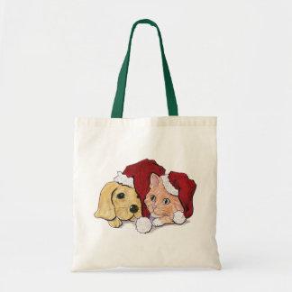 Cartoon Christmas, Cute Puppy Kitten in Santa Hats Budget Tote Bag