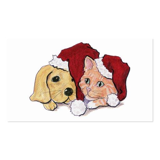 Cartoon Christmas, Cute Puppy Kitten Santa Hats Business Card Template