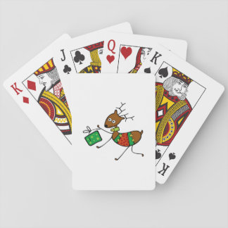 Cartoon Christmas Deer Playing Cards