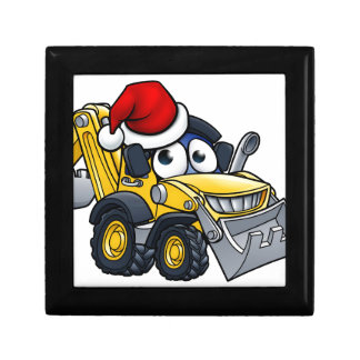 Cartoon Christmas Digger Bulldozer Character Gift Box