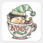 Cartoon Christmas Elf Sleeping in a Tea Cup Noel Square Stickers