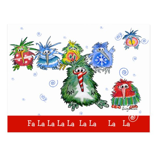 Cartoon Christmas Kiwi Birds Funny Postcard