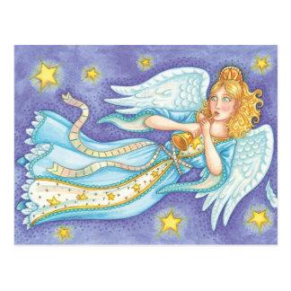 Cartoon Christmas Musician Angel Playing Her Horn Postcard