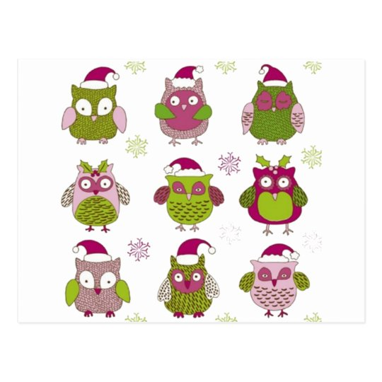 cartoon christmas owl cute vector postcard