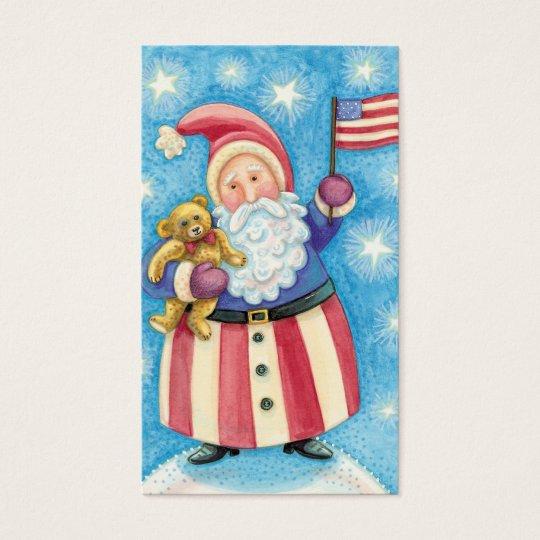 Cartoon Christmas, Patriotic Santa Claus with Flag Business Card
