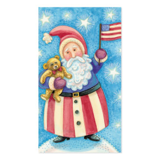 Cartoon Christmas Patriotic Santa Claus with Flag Business Cards