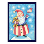 Cartoon Christmas, Patriotic Santa Claus with Flag Custom Invitations