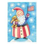 Cartoon Christmas, Patriotic Santa Claus with Flag Personalized Invitation