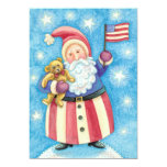 Cartoon Christmas, Patriotic Santa Claus with Flag 5x7 Paper Invitation Card