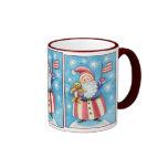 Cartoon Christmas, Patriotic Santa Claus with Flag Coffee Mugs