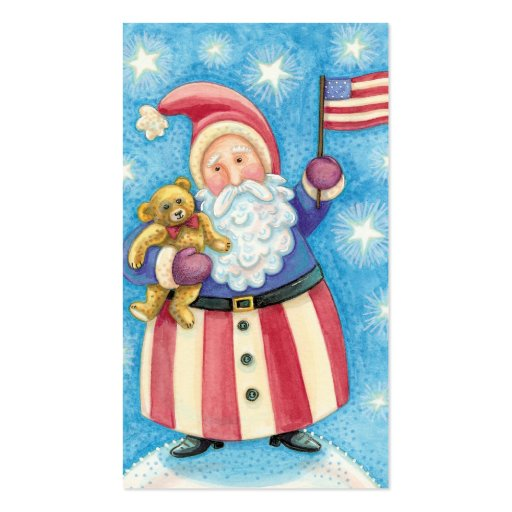 Cartoon Christmas, Patriotic Santa Claus with Flag Pack Of Standard Business Cards