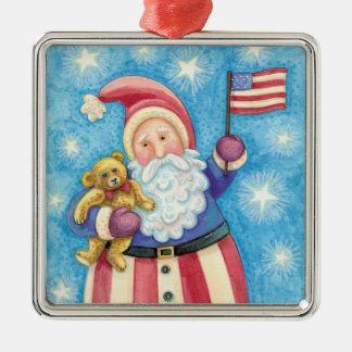 Cartoon Christmas, Patriotic Santa Claus with Flag Silver-Colored Square Decoration