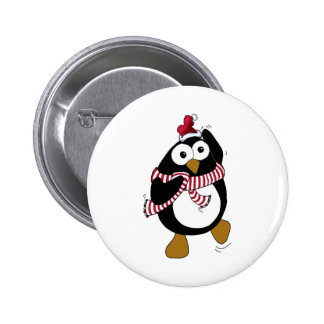 Cartoon Christmas Penguin wearing a Santa Hat. 6 Cm Round Badge