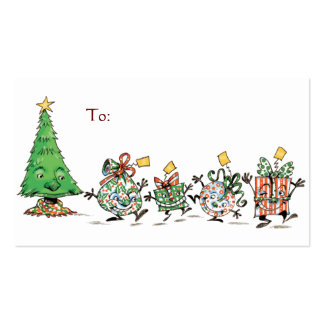 Cartoon Christmas Presents and Tree with Gold Star Business Card