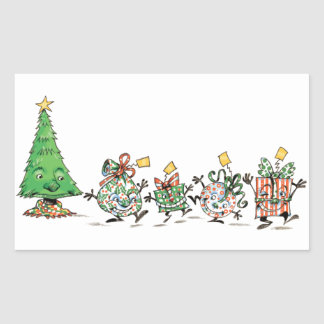 Cartoon Christmas Presents and Tree with Gold Star Rectangular Stickers
