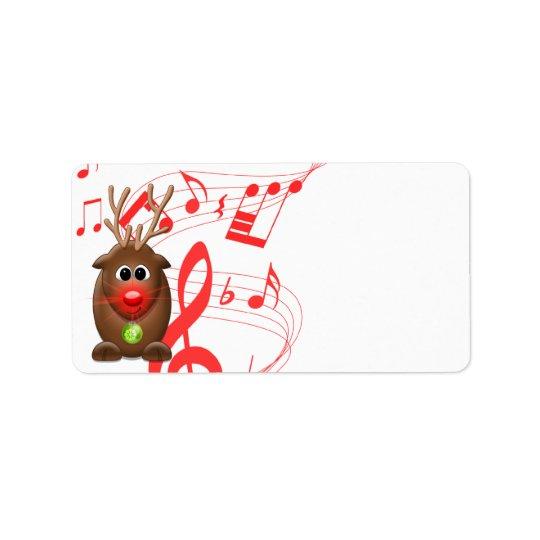 Cartoon Christmas Reindeer Blank Address Labels