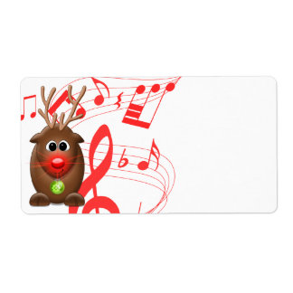 Cartoon Christmas Reindeer Blank Shipping  Labels
