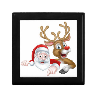 Cartoon Christmas Santa and Reindeer Gift Box