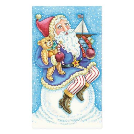 Cartoon Christmas, Santa Claus on Snowball w Toys Business Card Templates