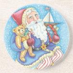 Cartoon Christmas, Santa Claus on Snowball w Toys Coaster