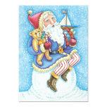 Cartoon Christmas, Santa Claus on Snowball w Toys Invites