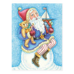 Cartoon Christmas, Santa Claus on Snowball w Toys Postcard