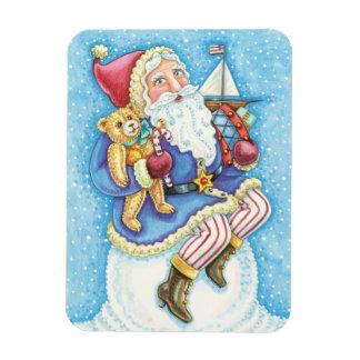 Cartoon Christmas, Santa Claus on Snowball w Toys Rectangular Photo Magnet