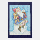 Cartoon Christmas, Santa Claus on Snowball w Toys Kitchen Towel