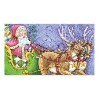 Cartoon Christmas, Santa Claus Sleigh Reindeer Business Card Templates