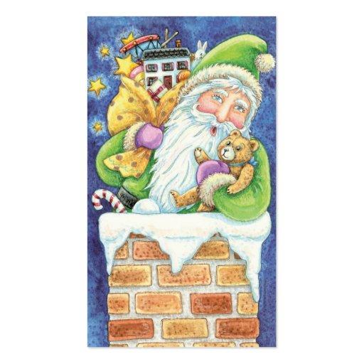 Cartoon Christmas Santa Claus Toys Chimney Snow Business Card