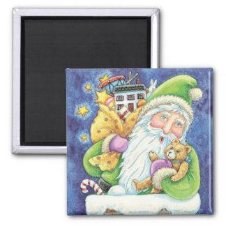 Cartoon Christmas Santa Claus, Toys Chimney Snow Square Magnet