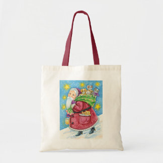 Cartoon Christmas, Santa Claus with Kittens Cats Budget Tote Bag