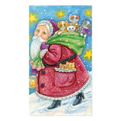 Cartoon Christmas, Santa Claus with Kittens Cats Business Card Templates