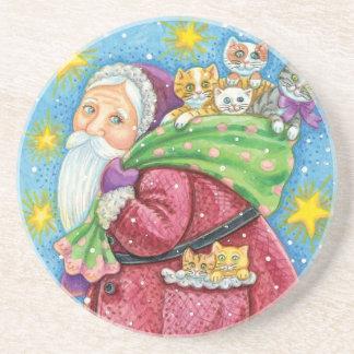 Cartoon Christmas, Santa Claus with Kittens Cats Coaster