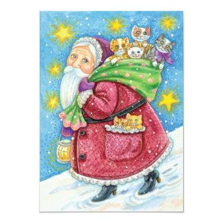 "Cartoon Christmas, Santa Claus with Kittens Cats 5"" X 7"" Invitation Card"