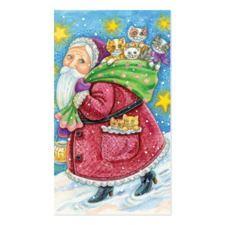 Cartoon Christmas, Santa Claus with Kittens Cats Pack Of Standard Business Cards
