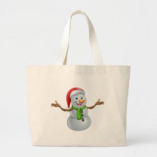Cartoon Christmas Santa Hat Snowman Large Tote Bag