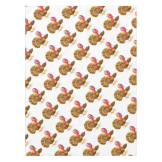 Cartoon Christmas Santa Hat Turkey Bird Pointing Tablecloth