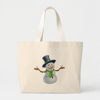 Cartoon Christmas Snowman Large Tote Bag