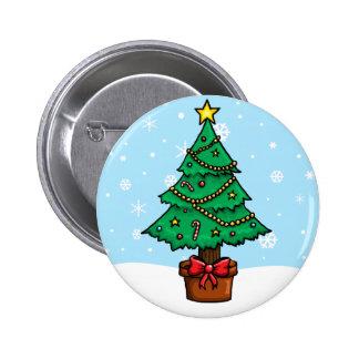 Cartoon Christmas Tree 6 Cm Round Badge