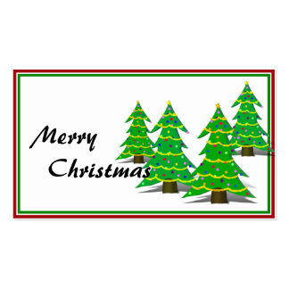 Cartoon Christmas Tree Forest Pack Of Standard Business Cards