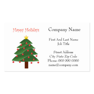 Cartoon Christmas Tree Happy Holidays Pack Of Standard Business Cards