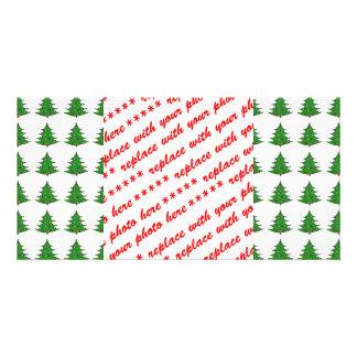 Cartoon Christmas Tree Pattern Photo Card Template