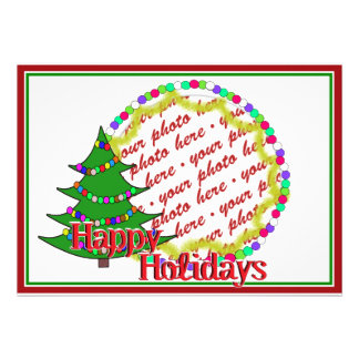 Cartoon Christmas Tree Photo Frame Personalized Invitation