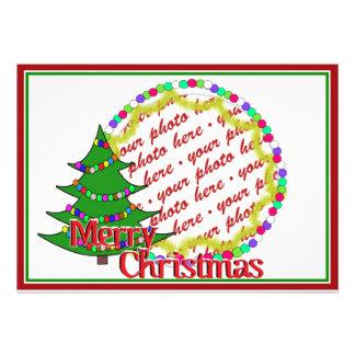 Cartoon Christmas Tree Photo Frame Custom Invites