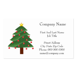 Cartoon Christmas Tree with Ornaments Drawing Pack Of Standard Business Cards